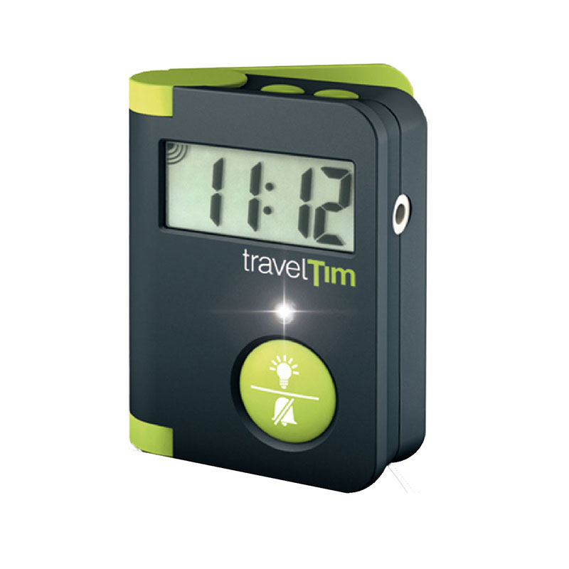 TravelTim alarm clock with clock time of 11:12